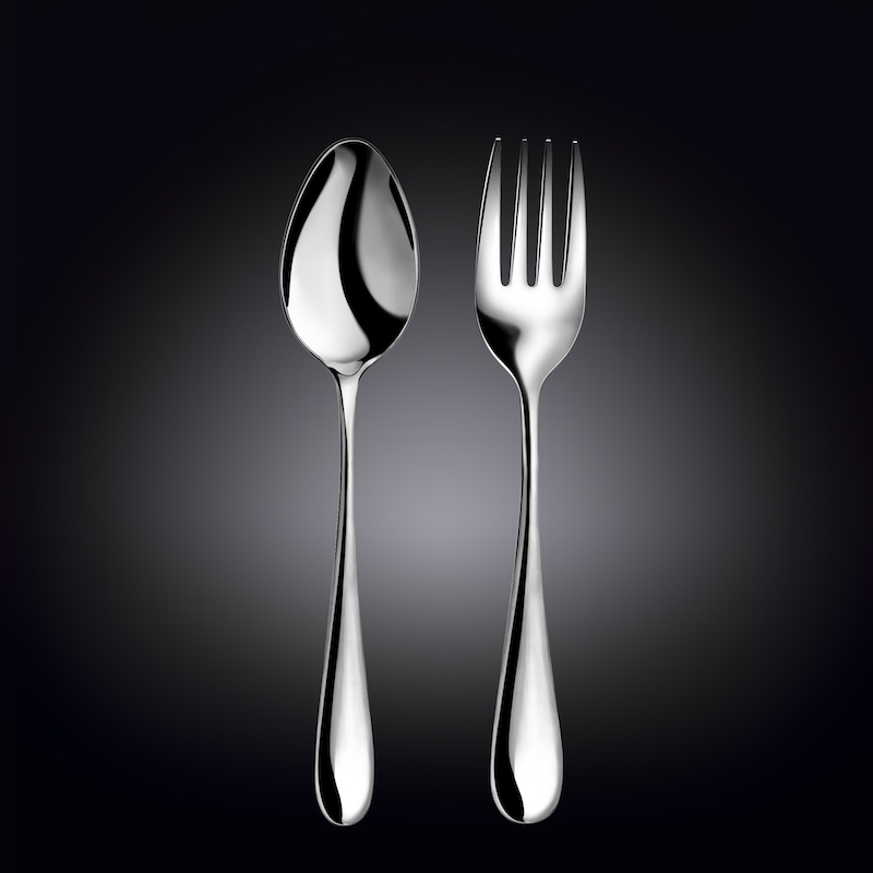 serving fork 9inch  23 cm and serving spoon 9.25inch  23.5 cm